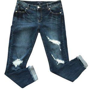 Just USA Distressed Skinny Jeans Fringe hem 27